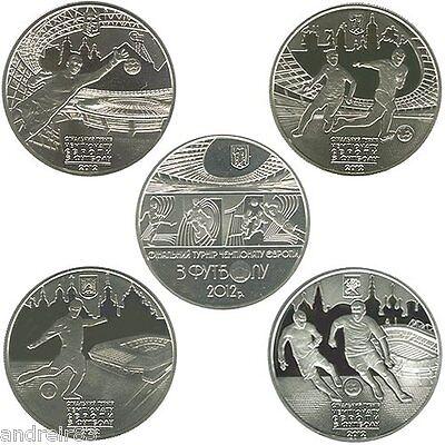 Ukraine ₴5 UAH UEFA Euro 2012 Final Tournament Set of 5 nickel silver Coins 2011