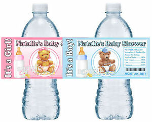 Details about 20 TEDDY BEAR BABY SHOWER FAVORS WATER BOTTLE LABELS GLOSSY