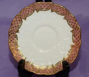 Aynsley-English-Fine-Bone-China-Orphan-Oleander-Saucer-Light-Pink-Gold-Gilt