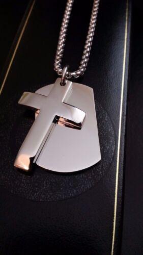 Hombre Plata Grabado Personalizado Etiqueta Cruz Colgante Cadena De Caja Regalo De Cumpleaños