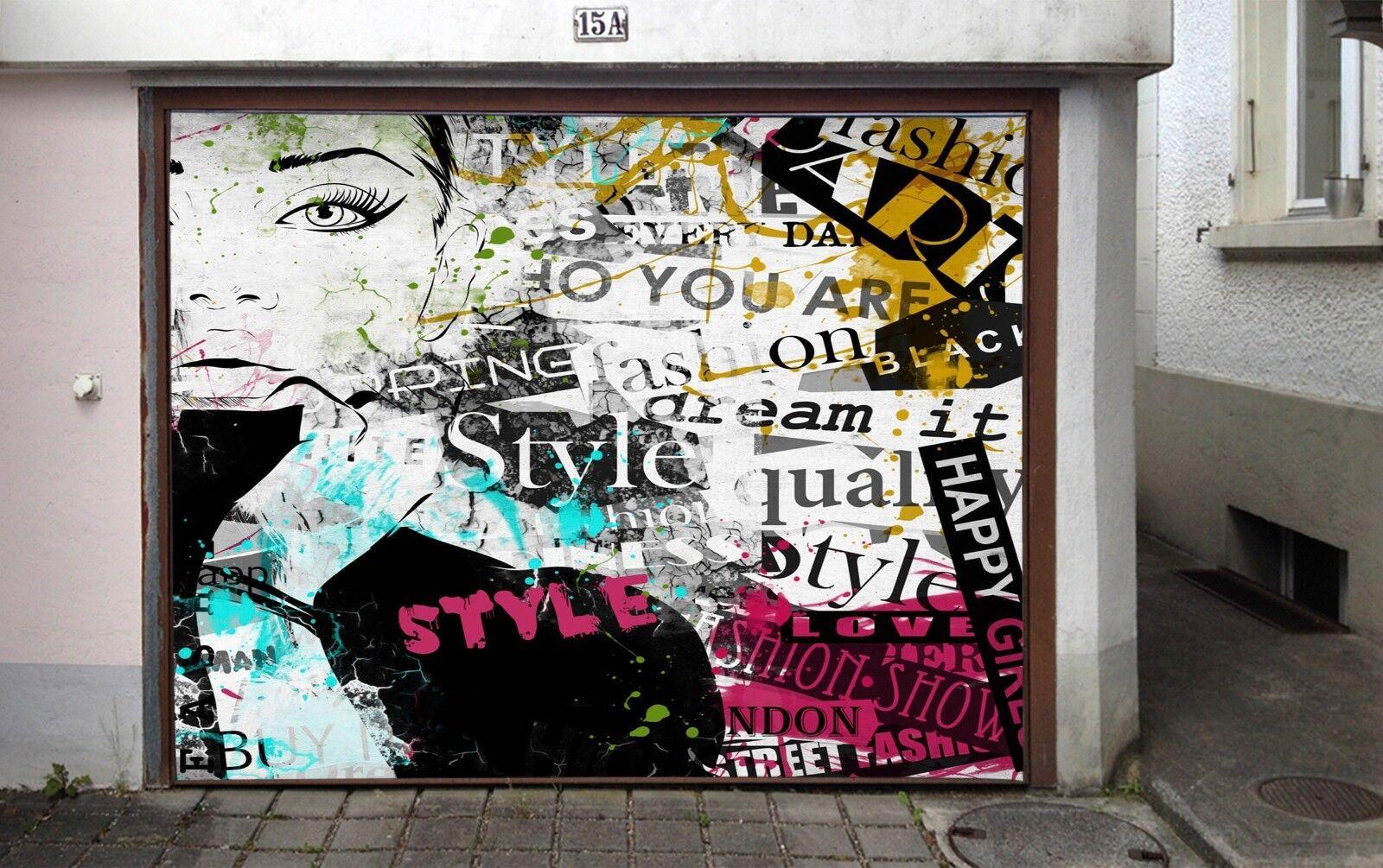 3D Fashion  Girl 56 Garage Door Murals Wall Print Wall AJ WALLPAPER UK Lemon