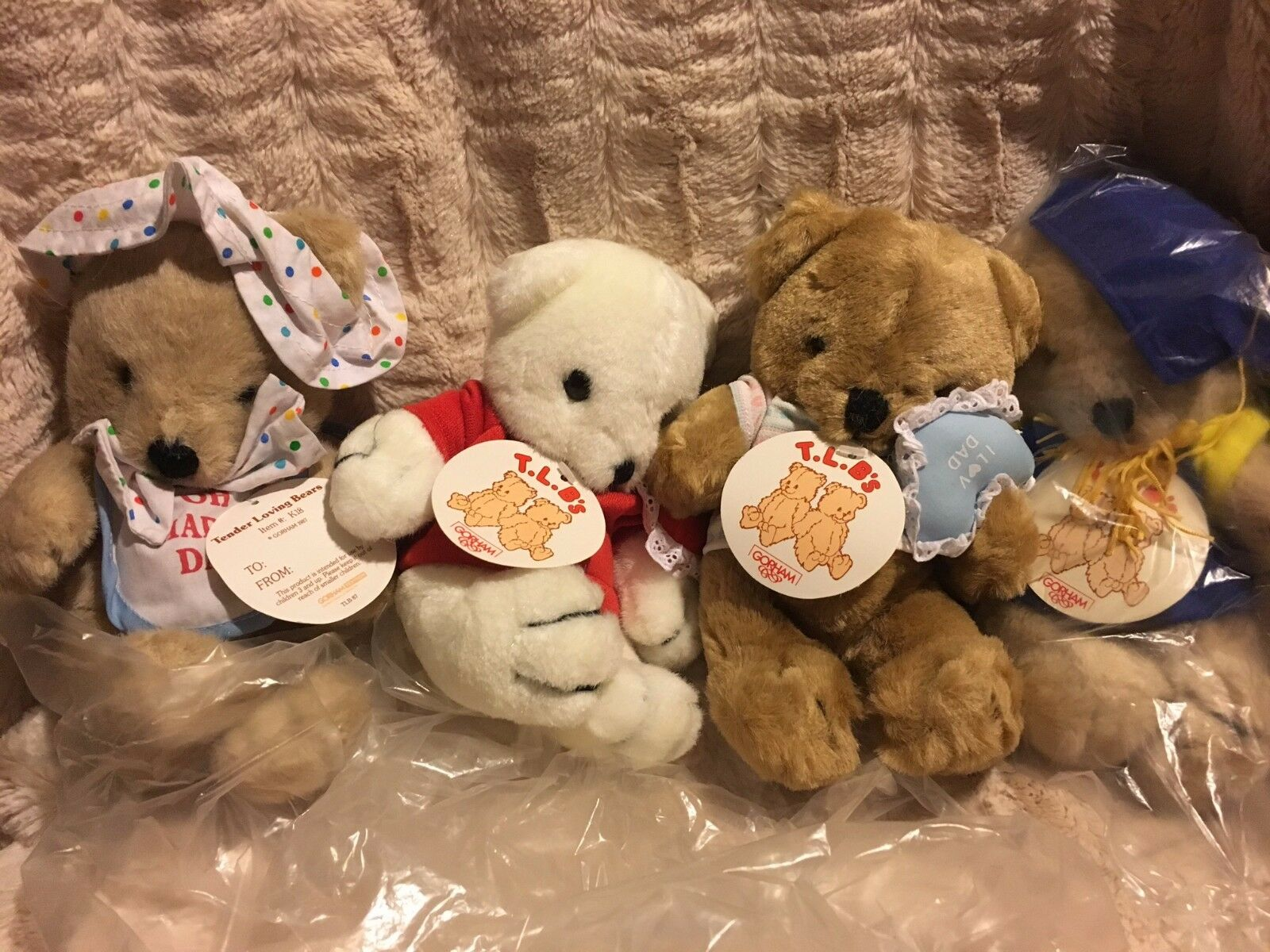 Vintage Gorham TLB Tender Loving Bear set of 4 NWT NEW Grad Love Plush 1987