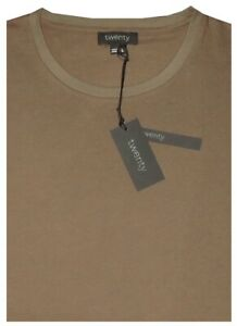 NEW-TWENTY-OLIVE-BROWN-BASIC-CREW-NECK-COTTON-TENCEL-SLIM-FIT-DRESSY-T-SHIRT-L