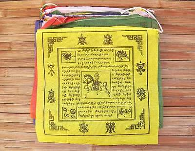 25 Buddhistische Gebetsfahnen - Glückssymbole - Größe L - Rayon - NEPAL