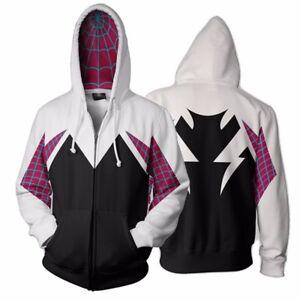 234ddec3f110 Image is loading Spider-Gwen-Spiderman-Cosplay-Costume-3D-Zipper-Jacket-