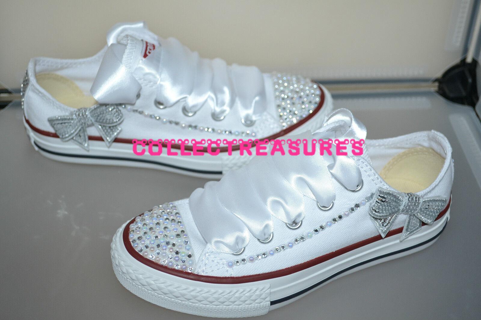 Custom Crystal Diamante Bling Größe Wedding Weiß Lo Converse Größe Bling UK 3 4 5 6 7 8 9 47bb53