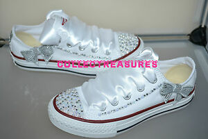 65b939029bfb Image is loading Custom-Crystal-Diamante-Bling-Wedding-White-Lo-Converse-