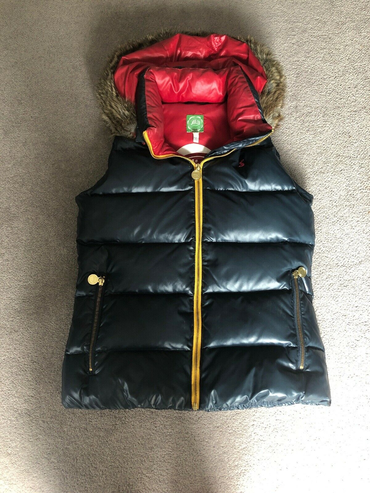 Womans Joules Navy Down Padded Gillet Size 10