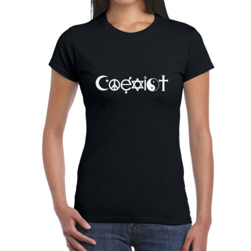 Coexist Ladies T-ShirtStar sign Hippy Symbols Witchcraft
