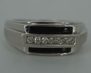 Image Is Loading Men 039 S 14k White Gold Diamond And
