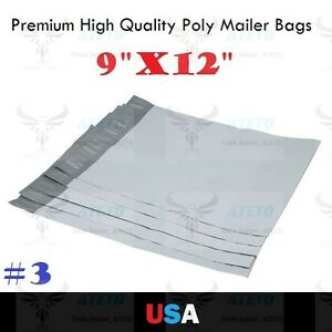Premium 3 poly mailers 9x12 self seal plastic bag for 10x13 window envelope