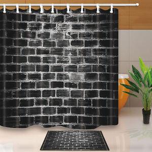 Image Is Loading Black Brick Wall Bathroom Shower Curtain Waterproof Fabric