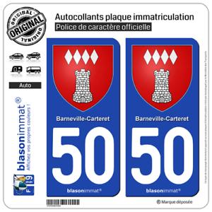 2 Sticker autocollant plaque auto50 Barneville-Carteret Armoiries50270