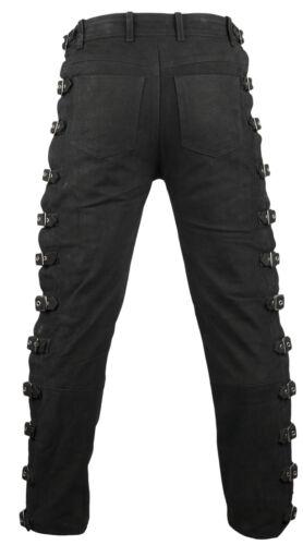 Lederhose Biker Pantaloni Jeans in pelle fibbie Jeans Moto Pantaloni Biker Rocker