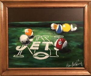 Genial Details About Beautiful U201cN.Y. JETS Pool Tableu201d, Original Art Painting On  Canvas With Frame