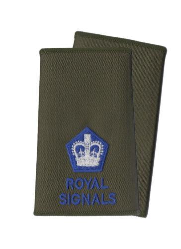 Ejército Británico Par de Señales Reales Azul sobre Verde Oliva Rango
