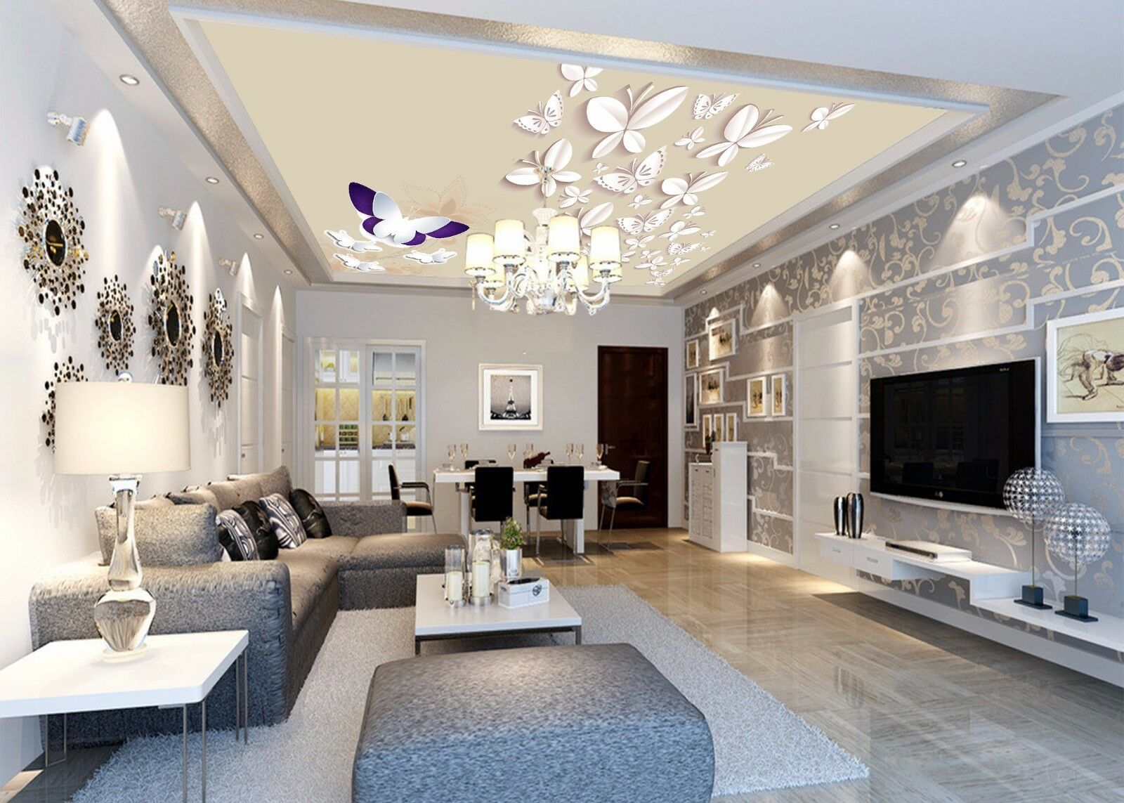 3D White Butterfly 8 Ceiling WallPaper Murals Wall Print Decal Deco AJ WALLPAPER