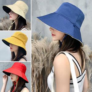 Women Anti-UV Wide Brim Sun Hats Sunscreen Summer Vacation Beach Cap Hat Fashion