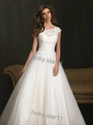 cap sleeve lace white ivory wedding dress bridal gown pageant prom party custom
