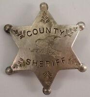 County Sheriff Star Eagle Or Hawk Symbol Old Western Badge Pin Bw-52