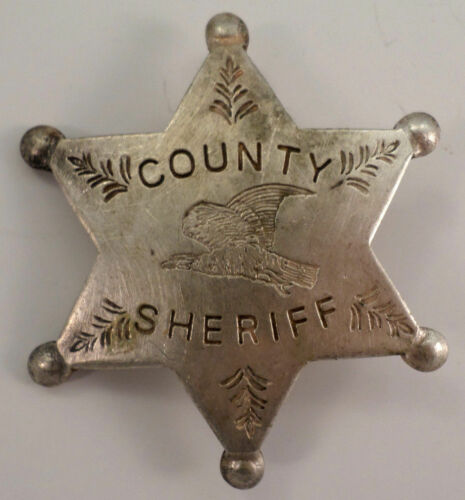 County Sheriff Star Old Western Inspired Replica Pin Back