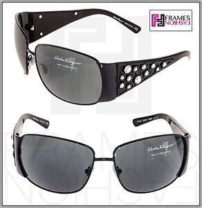 40666072ac4 Image is loading SALVATORE-FERRAGAMO-Black-Swarovski-Crystal -Wrap-SF1175B-Sunglasses-