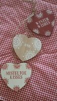 wooden Christmas Tree Decoration 3 hearts Red/white Traditional/Rustic