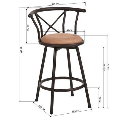 Rétro Déjeuner Tabouret de bar Cuisine Chaise de repose-pieds en métal marron