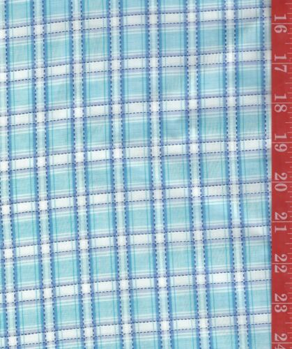 VINTAGE semi- sheer Organdy type PLAID Blues & white 36W sold by the 1/2 Yard