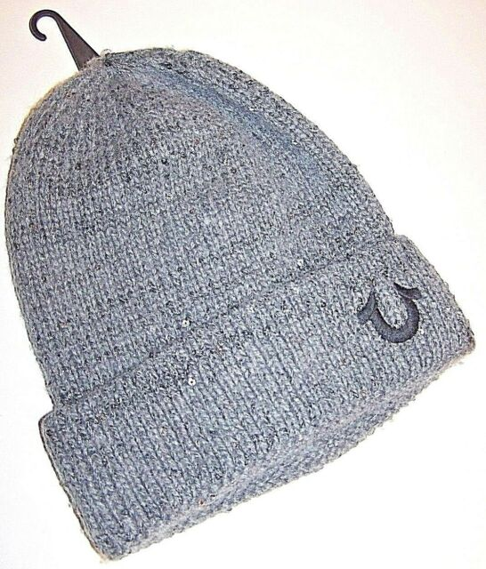 127d9ceba2b81 TRUE RELIGION SEQUIN KNIT BEANIE GRAY HAT w EMBROIDERED LOGO OSFA NWT  75