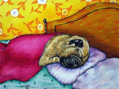 PUG sleeping bedroom walll art 11x14  art print reproduction of painting