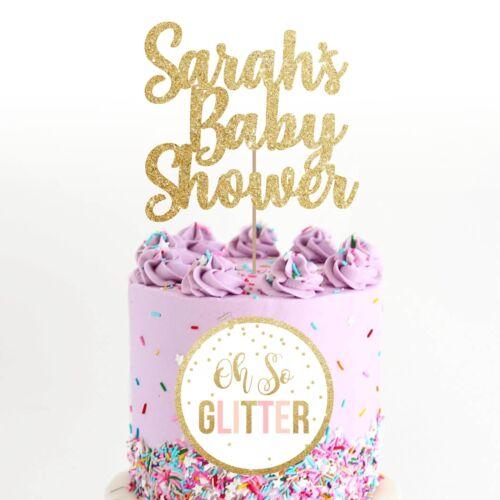 customised baby shower cake topper name custom glitter any name personalised