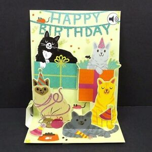 Image Is Loading Feline Birthday Greeting Card 3D Pop Up With