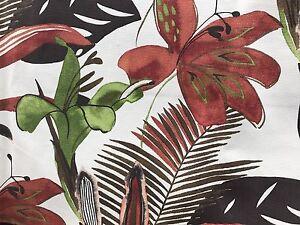 Orange Green Brown Tropical Print Upholstery Fabric 2 25 Yds Ebay