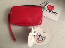 DKNY MYNY Small Red Patent Leather Cosmetic Bag Wristlet Clutch + MYNY SAMPLE