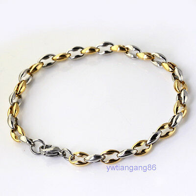 Charm Silve Gold Stainless Steel 6.3mm Coffee Bead Chain Fashion Bracelet 9inch