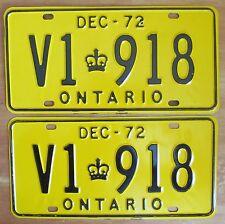 Ontario 1972 License Plate PAIR - SUPERB QUALITY # V1 918