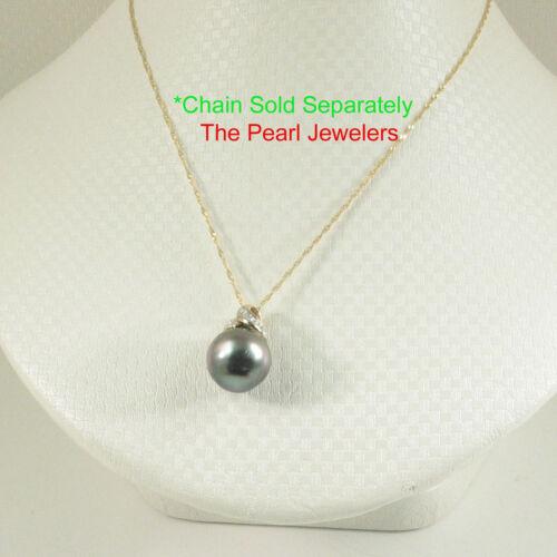 14k Yellow Solid Gold Bale Diamonds Natural Peacock Tahitian Pearl Pendant TPJ