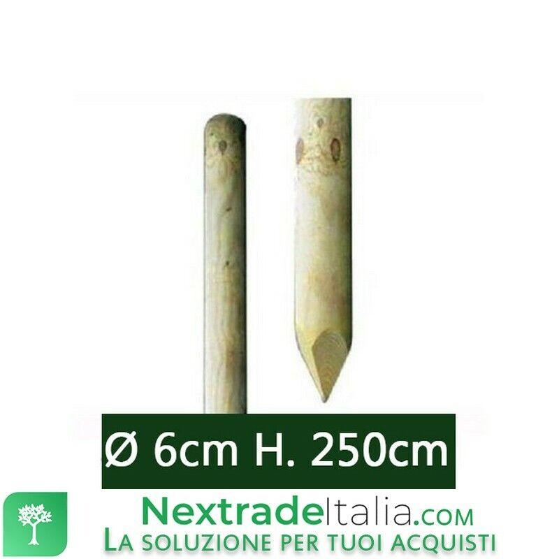 10PZ Pali tondi in legno trattati ed impregnati per recinto Ø cm 6 x 250 H