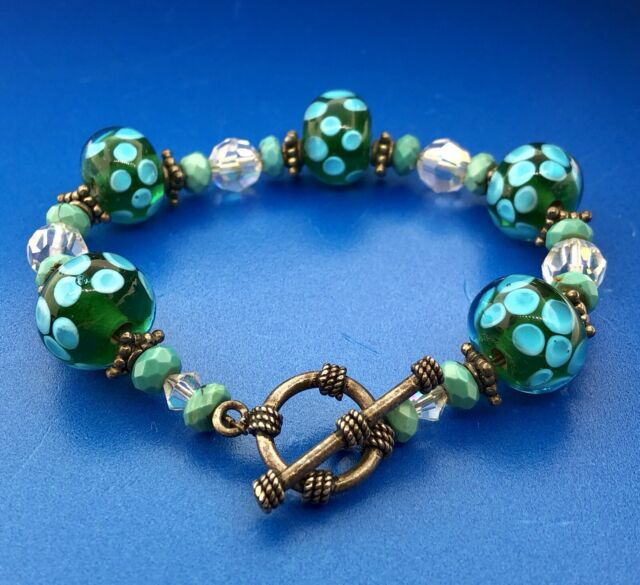 Vintage 925 Sterling Silver Turquoise Art Glass Crystal