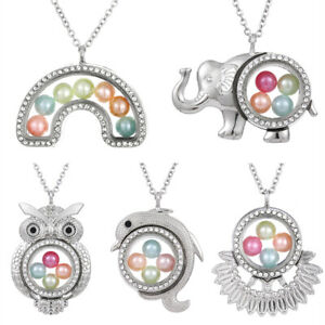 Elephant-Living-Memory-Floating-Locket-Pendant-Pearl-Cage-Glass-Locket-Necklace