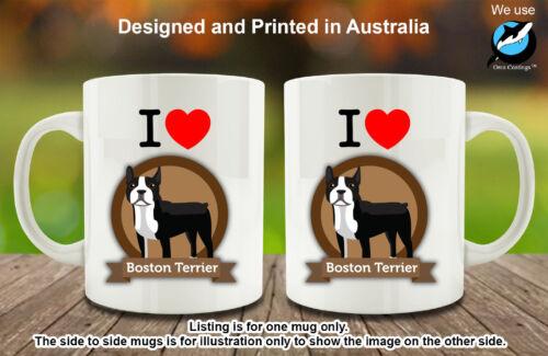 I Love Boston Terrier Dog Love Coffee Personalised Custom Mug Cute Birthday Gift