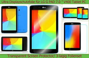 3-x-Antireflex-Display-Schutz-Folie-LG-G-Pad-Tablet-Protector-Kratzfest-matt-SET