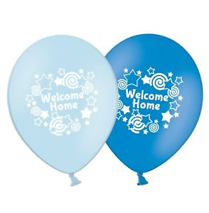 "Baby Boy 12/"" Printed Latex Balloons Blue Asst pack of 5 Hot Air Balloon"