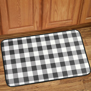 Buffalo Check Printed Anti Fatigue Kitchen Floor Rug Mat 18 X 30 Black White 670221000075 Ebay