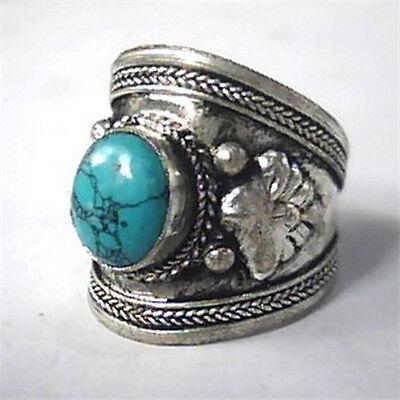 Large Adjustable Tibetan Big Natural Round Turquoise Gemstone Dorje Amulet Ring