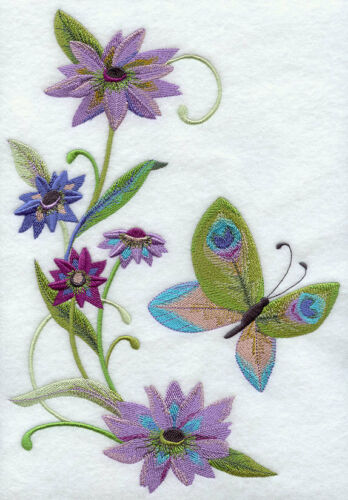 PEACOCK BUTTERFLY /& FLOWERS SET OF 2 BATH HAND TOWELS EMBROIDERED BY LAURA