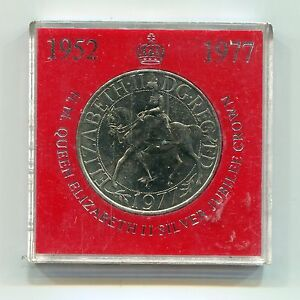 United-Kingdom-Britain-1977-Silver-Jubilee-Crown-Medal-in-Original-Case