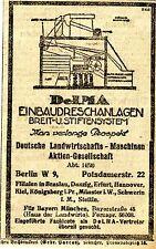 DeLMA Berlin EINBAUDRESCHANLAGEN  Historische Reklame von 1920