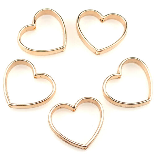 22379 5PCS KC Gold Plated Alloy Beauty Peach Hearts Hollow Out Linker Charm